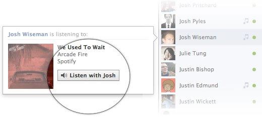 Ouvir com Facebook música
