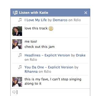 Ouvir com Facebook música2