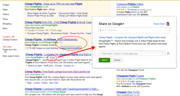 Google+ compratilhar direto da busca