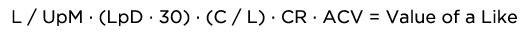 Formula calcular o valor de um like